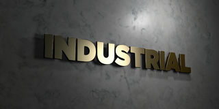 Industrial - Gold text on black background - 3D rendered royalty free stock picture Royalty Free Stock Photos