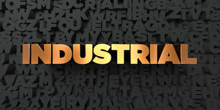 Industrial - Gold text on black background - 3D rendered royalty free stock picture Royalty Free Stock Image