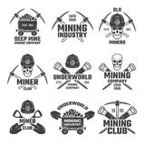 Industrial gold and various mineral mining. Black labels vector set vector illustration