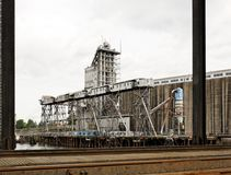 Industrial grain cargo shipping dock terminal Stock Image