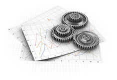 Industrial graph. Abstract 3d illustration of diagram paper sheets with gear wheels Royalty Free Stock Images