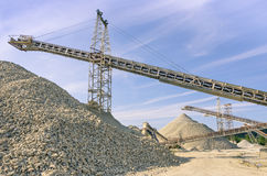 Industrial gravel Quarry and sand Stone refinery Stock Images