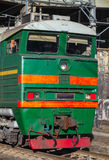 Industrial green cargo train diesel locomotive cabin Stock Images