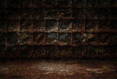 Industrial grunge background, dark room with walls of rusty metal plates, dirty metal floor vector illustration