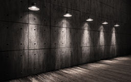 Industrial grunge background illuminated ceiling lamps Stock Images