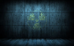 Industrial grunge background with radiation symbol