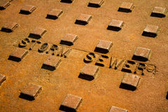 Industrial Grunge Sewer Lid Royalty Free Stock Photo