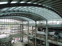 Industrial hall. With steel structure being under construction Royalty Free Stock Photo