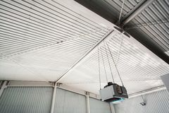 Industrial hall ceiling with fan Stock Images