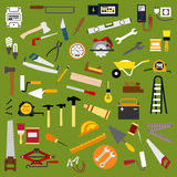 Industrial hand tools and equipment flat icons Stock Photos