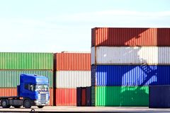 Industrial harbor. Harbor with containers and a truck Stock Photo