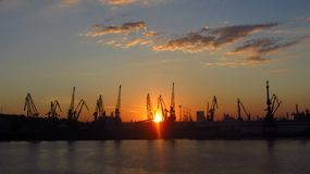 Industrial Harbor at Dusk. An industrial harbor at dusk Stock Photos