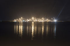 Industrial harbor at Kochi at night Royalty Free Stock Photography
