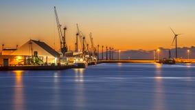 Industrial harbor night scene Stock Image