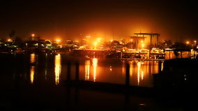 Industrial Harbor At Night stock footage