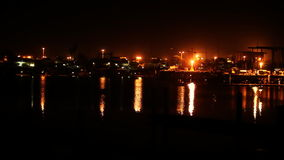 Industrial Harbor At Night stock video footage