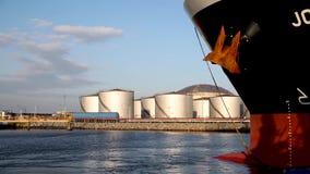 Industrial Harbour of Amsterdam. Industrial scene with oil silos in the harbour of Amsterdam, the biggest importer of gasoline stock video
