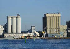 Industrial harbour with silos Royalty Free Stock Photo