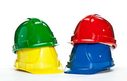 Industrial hardhats on white background Stock Photo