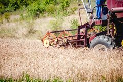Industrial harvesting combine harvesting crops of wheat Stock Photos