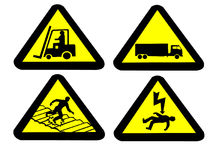 Industrial hazard signs Stock Photos