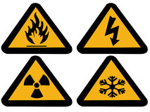 Industrial hazard symbols. Extreme cold, flammable,radioactive electrical Royalty Free Stock Photos