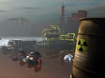 Industrial hazardous waste. A dark and gloomy composite illustration of a polluted and contaminated industrial waste dump Stock Images