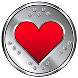 Industrial heart or love icon. Vector button with heart or love icon surrounded by stainless steel Stock Photo