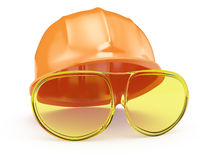 Industrial helmet and glasses Stock Images