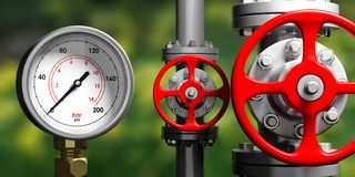 Industrial manometer, pipelines and valves on blur green background, 3d illustration Royalty Free Stock Images