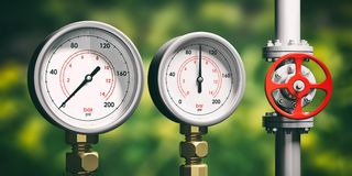 Industrial manometers, pipelines and valves on blur green background, 3d illustration. Industrial high pressure gas manometers, pipelines and valves on blur Royalty Free Stock Image