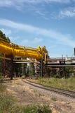 Industrial high pressure gas pipeline stock image