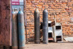 Industrial high pressure oxygen cylinders for industrial metal welding. High pressure industrial oxygen cylinders for industrial metal welding, ready to use royalty free stock photography