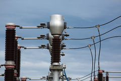 Industrial high-voltage electric pylon Royalty Free Stock Image