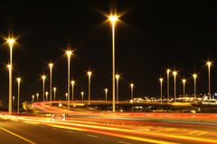 Industrial highway lights in urban area Stock Photography
