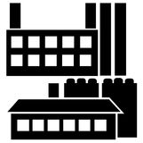 Industrial house icon set isolated on white Stock Photos