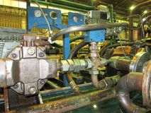 Industrial hydraulic oil pumping system Royalty Free Stock Photo