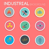 Industrial icon set. Flat style Royalty Free Stock Images