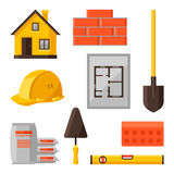 Industrial icon set of housing construction Royalty Free Stock Photos