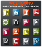 Industrial icon set. Industrial icons set in flat design with long shadow Stock Photo