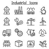Industrial icon set in thin line style Royalty Free Stock Photos