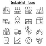 Industrial icon set in thin line style Royalty Free Stock Images
