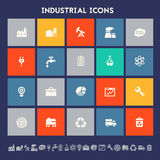 Industrial icons. Multicolored square flat buttons Stock Photos