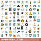 100 industrial icons set, flat style. 100 industrial icons set in flat style for any design vector illustration Royalty Free Stock Image