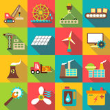 Industrial icons set, flat style Stock Photography