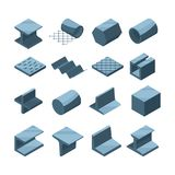 Industrial icons set of metallurgic production. Isometric pictures of steel or iron pipes vector illustration