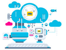 Industrial illustration background of the cloud technolog Royalty Free Stock Images