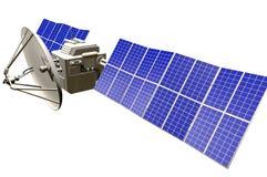 Orbital satellite industrial illustration - spaceship with huge solar panels isolated on white background - 3D Illustration vector illustration