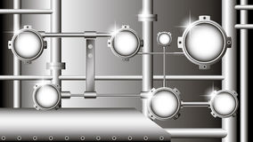 vector industrial illustration with metallic pipes Royalty Free Stock Photo