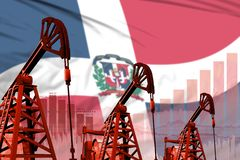 Industrial illustration of oil wells - Dominican Republic oil industry concept on flag background. 3D Illustration. Dominican Republic oil and petrol industry stock photos